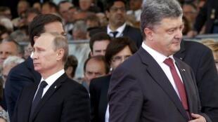 В.Путин и П.Порошенко в Нормандии 6 июня 2014