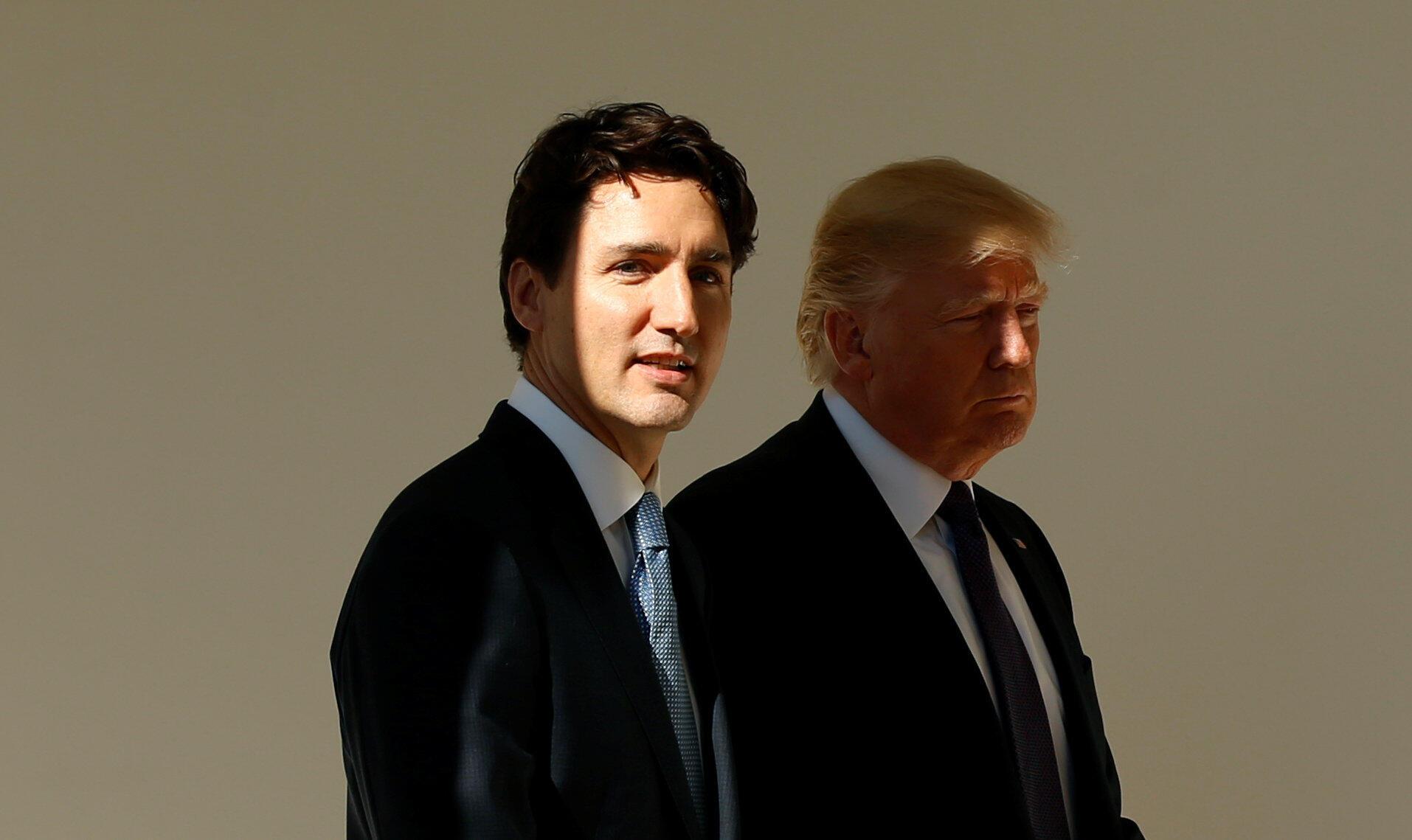 美國總統特朗普與加拿大總理特魯多2月13日在白宮會晤