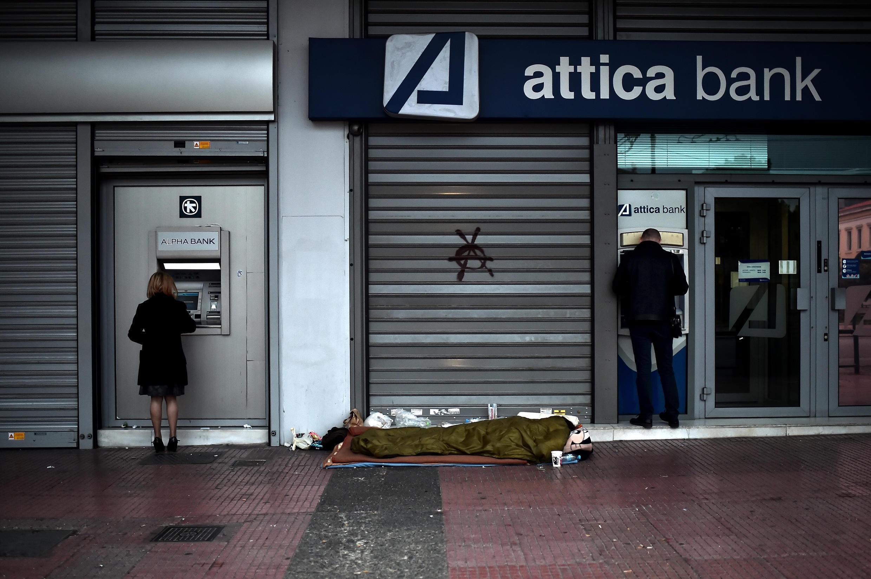 Banco grego fechado.