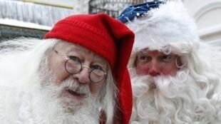 Santa Claus makes his way around the world