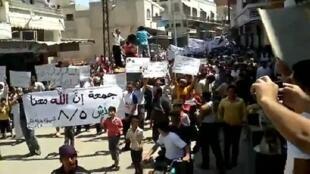 Manifestations à Idlib, dans le nord-ouest de la Syrie, le 5 août 2011
