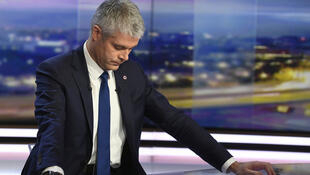 Republicans leader Laurent Wauquiez in a television studio in December