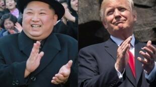 Le président nord-coréen, Kim Jong-Un (G) et son homologue américain, Donald Trump devraient se rencontrer d'ici fin mai 2018.