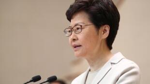 Trưởng đặc khu Hồng Kông Lâm Trịnh Nguyệt Nga (Carrie Lam) phát biểu sau cuộc bầu cử địa phương ở Hồng Kông, Trung Quốc, ngày 26/11/2019.