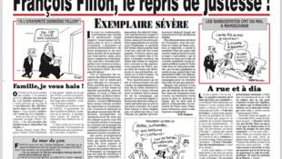 Capa do jornal francês Le Canard Enchaîné, na edição desta quarta-feira, 8 de março de 2017.