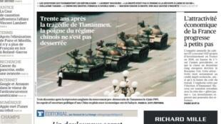"""Ảnh minh họa và tít trên trang nhất báo Le Figaro (04/06/2019): """"Ba mươi năm sau tấn thảm kịch Thiên An Môn, bàn tay của chế độ Trung Quốc vẫn siết chặt""""."""