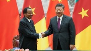 Paul Biya (G) est reçu par Xi Jinping (D) à Pékin pour une visite d'Etat, le 22 mars 2018.