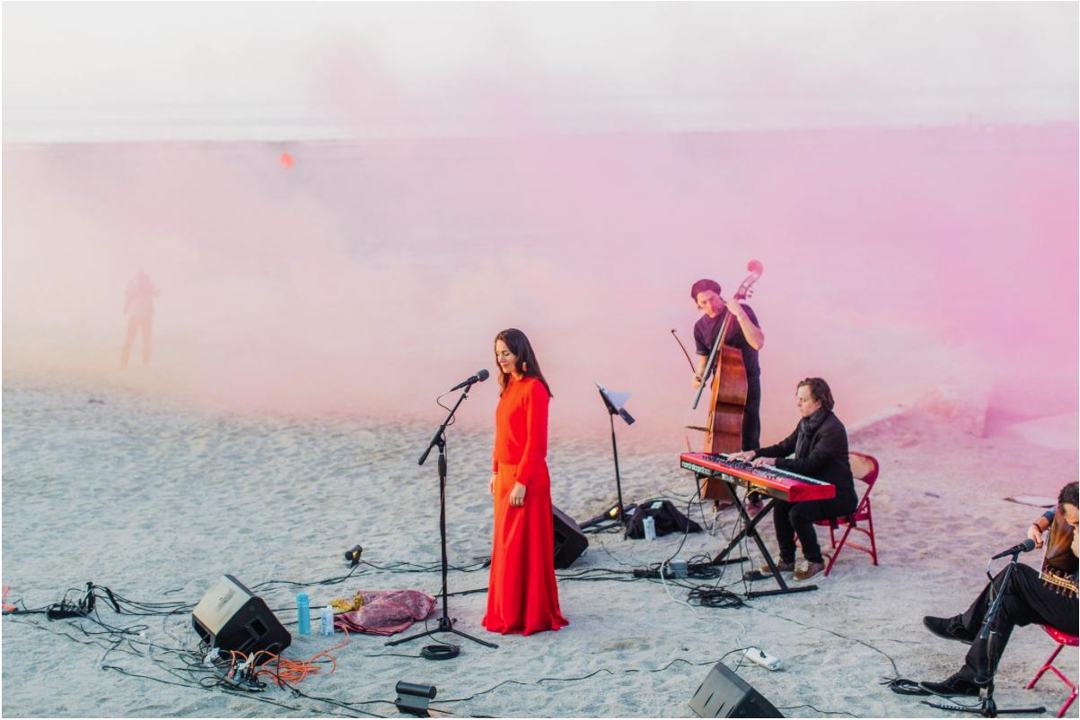 Mezzo Soprano Ariana Vafaradi performs at Bombay Beach Biennale, California, US in March 2019.