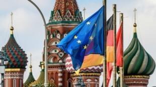 پرچم اتحادیه اروپا و کشورهای اروپایی در مسکو
