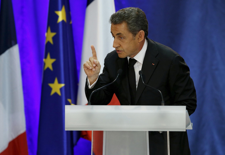 Former French president Nicolas Sarkozy addresses a public meeting in Lambersart last month