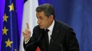 Former French president Nicolas Sarkozy addresses a public meeting in Lambersart last month
