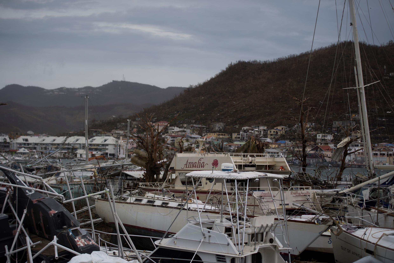 Boats wrecked by Hurricane Irma in Marigot on Saint-Martin