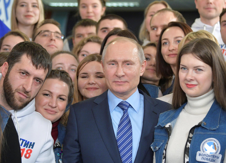 Tổng thống Nga Vladimir Putin vận động tranh cử ở Matxcơva ngày 10/01/2018.