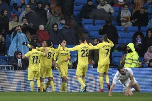 Les joueurs de Villarreal fêtent leur victoire face au Real Madrid au Stade Barnabeu, le 13 janvier 2018.