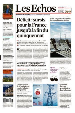 Capa do jornal francês Les Echos desta terça-feira.