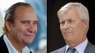 A gauche, Xavier Niel, le fondateur de Free et son concurrent pour l'acquisition de Telecom Italia,  Vincent Bolloré du groupe du même nom.
