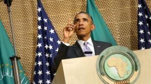 Le président américain Barack Obama lors de son discours à l'Union africaine, le 28 juillet 2015.