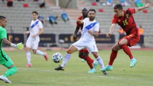 Thorgan Hazard opens the scoring for Belgium