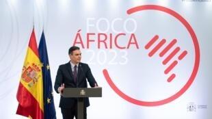 Pedro Sánchez habla durante la presentación del plan Foco África 2023 en el palacio de la Moncloa, el 29 de marzo de 2021 en Madrid