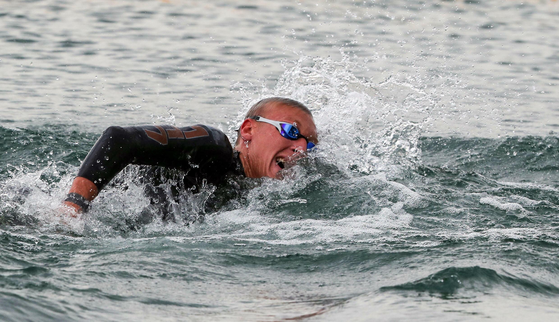 Marc-Antoine Olivier lors du 5 km en eau libre des Championnats d'Europe, à Budakalasz en Hongrie, le 12 mai 2021