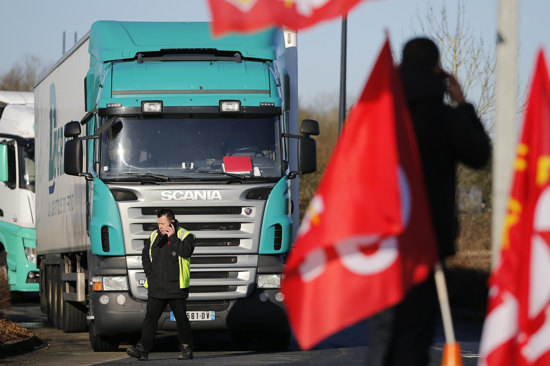 A blockade in Carquefou near Nantes on Monday