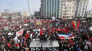 Turkish ultra-nationalists hold flags