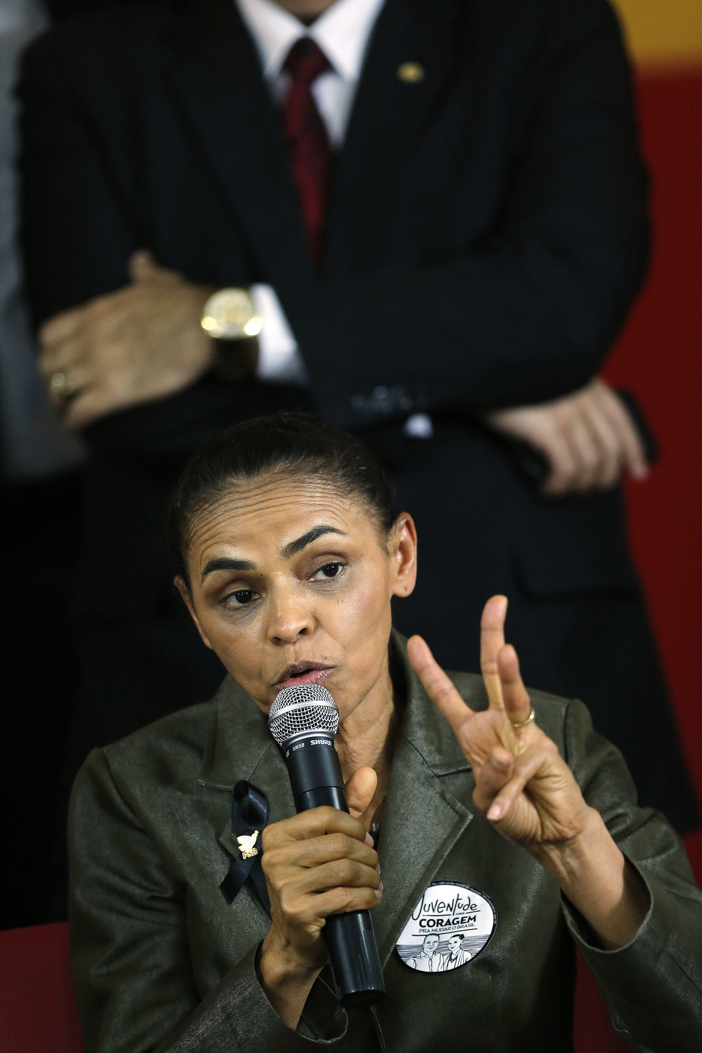 Marina Silva durante a apresentação nesta quarta-feira (20) como candidata à presidência pelo PSB no lugar de Eduardo Campos.