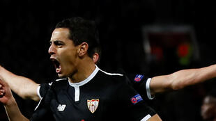 Wissam Ben Yedde akisherehekea baada ya kuigunga Manchester United katika mchuano wa Sevvila Machi 13 2018 katika uwanja wa Old Trafford