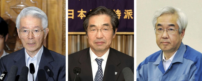 Les trois anciens patrons de Tepco prochainement jugés. De gauche à droite: Tsunehisa Katsumata, Ichiro Takekuro et Sakae Muto.