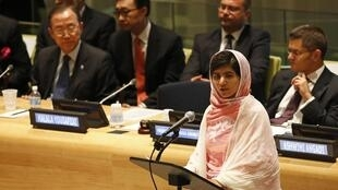 Malala Yousafzai aux Nations unies, à New York, le 12 juillet 2013.