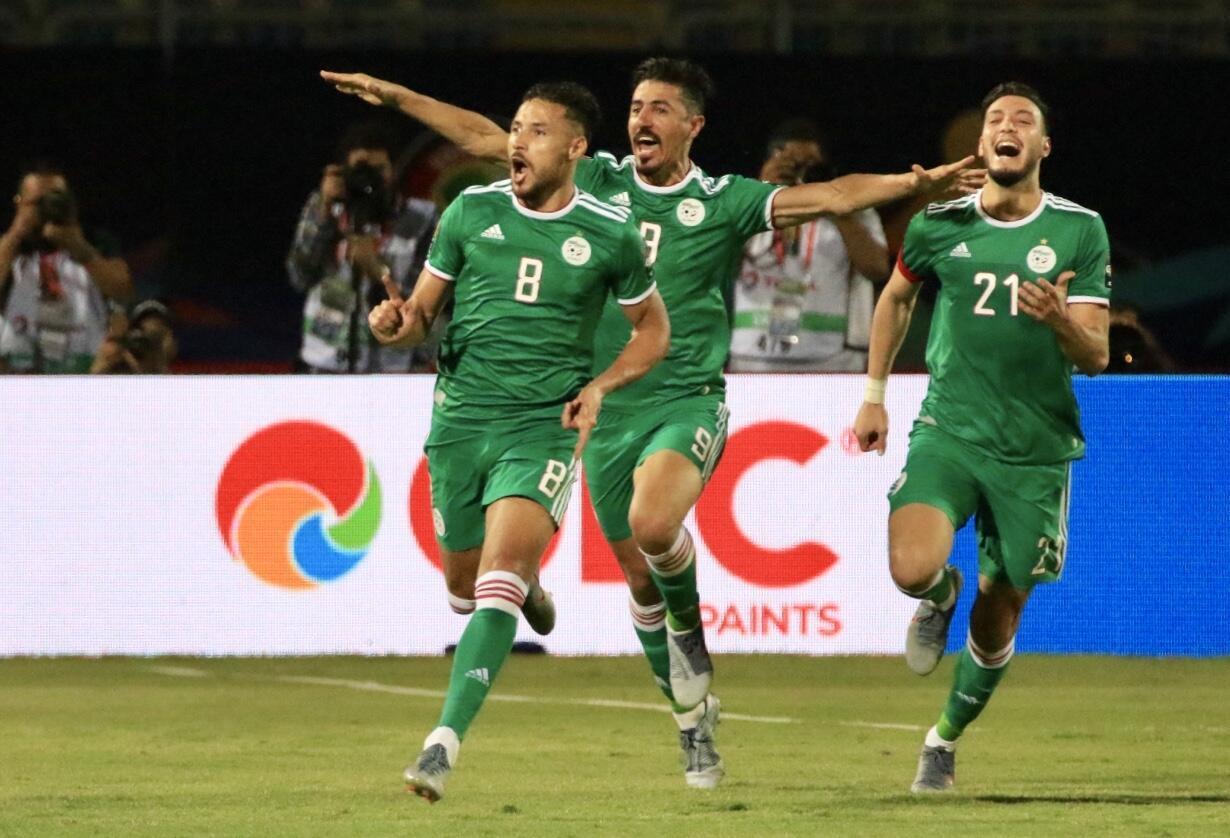 Mohamed Youcef Belali (front) scored Algeria's winner against Senegal.