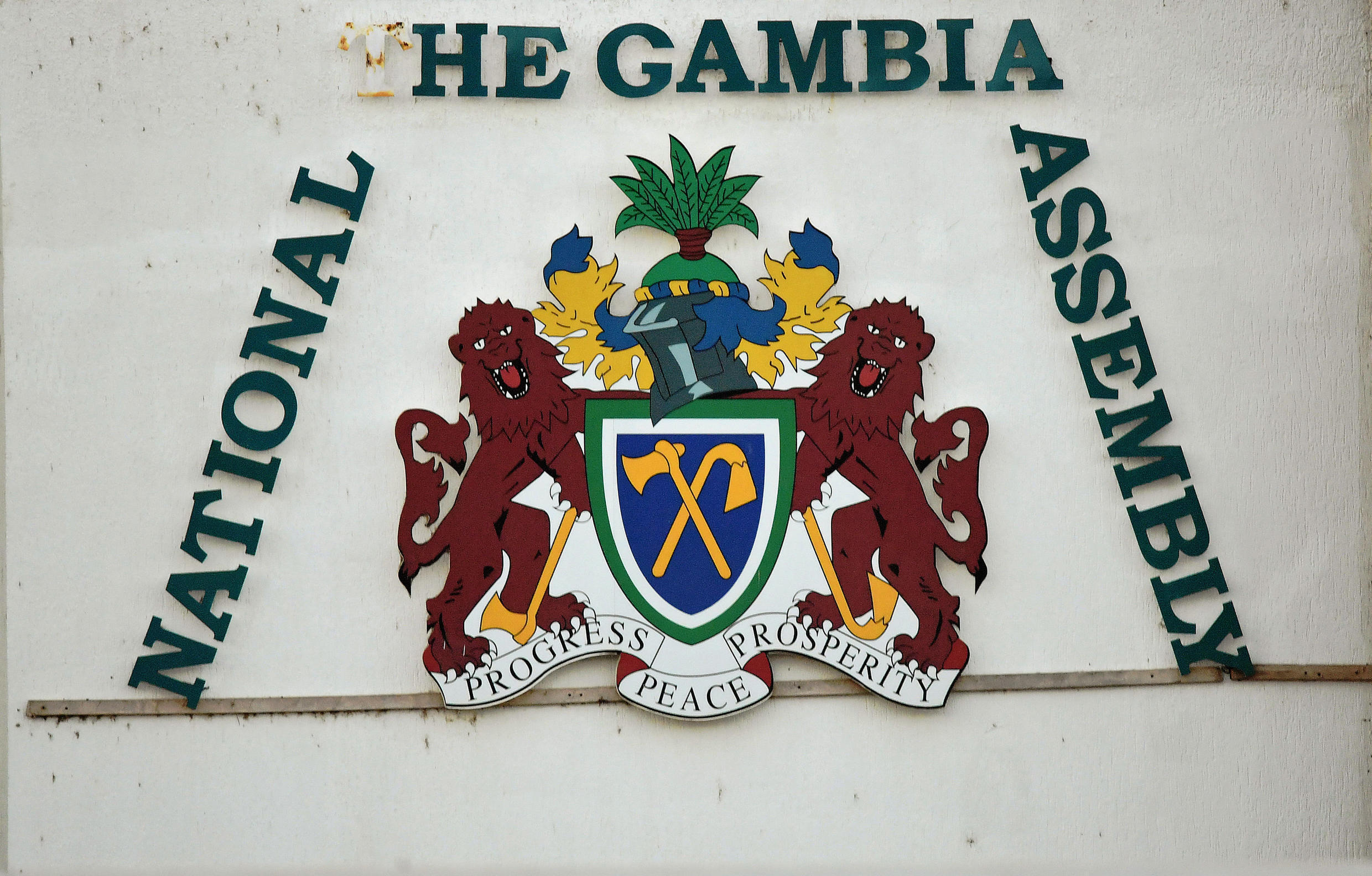 A sign for the National Assembly in Banjul, 24 January 2017.