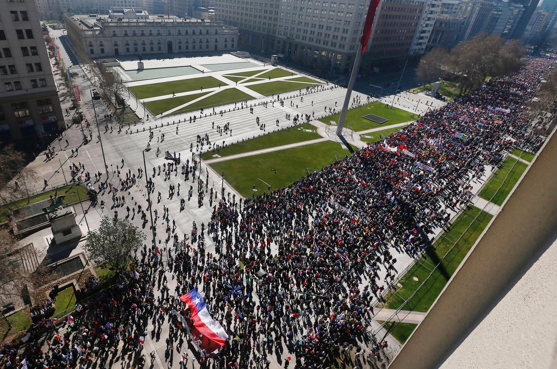 Manifestation à Santiago du Chili, le 21 août 2016.