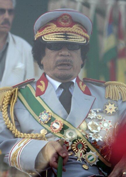 Muamar Kadafi, durante la celebración de los 40 años de la revolución libia, 1 de septiembre de 2009 en Trípoli.