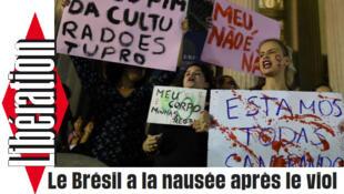 Manchete de um artigo escrito pelo jornal Libération sobre o caso da menor de 16 anos violentada no Rio de Janeiro.