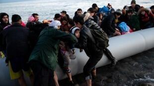 Arrivée de migrants à Lesbos, en Grèce.