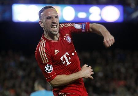 Dan wasan kungiyar kwallon kafa ta Bayern Munich Franck Ribery.