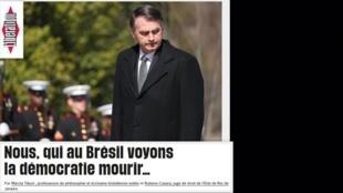 """""""Nós, que no Brasil vemos a democracia morrer"""" é o título do artigo do jornal Libération desta segunda-feira 15 de abril de 2019"""