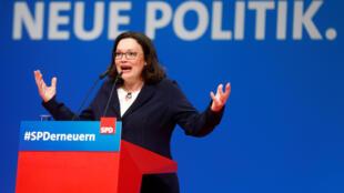 Andrea Nahles a été nommée à la tête du SPD lors du congrès du parti à Wiesbaden, en Allemagne, le 22 avril 2018.