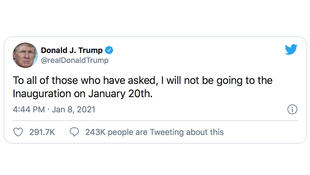 2020-01-08 TWEET Trump says he does not attend the Biden inauguration on 20 01 2021