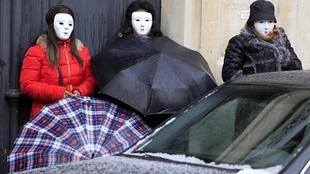 Prostitutes protesting the resolution outside the National Assembly