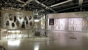 View of the exhibition; the poem on the wall is by John Giorno.