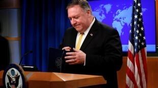 彭佩奥在华盛顿举行的美国国务院新闻发布会上 2019年6月8日