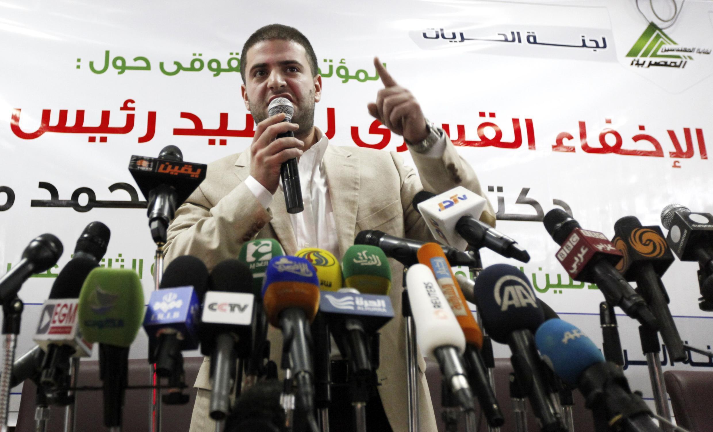 Осама Мохаммед Мурси, сын низложенного президента на пресс-конференции в Каире 22/07/2013
