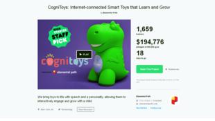 Page de présentation du projet CogniToys de la société Elemental Path sur Kickstarter.