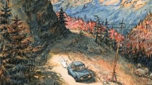 Détail de la couverture de la Bande dessinée «Visa Transit» de Nicolas de Crécy.