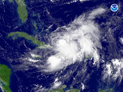 La tempête tropicale Hanna, au sud-est de la Floride le 2 septembre 2008.
