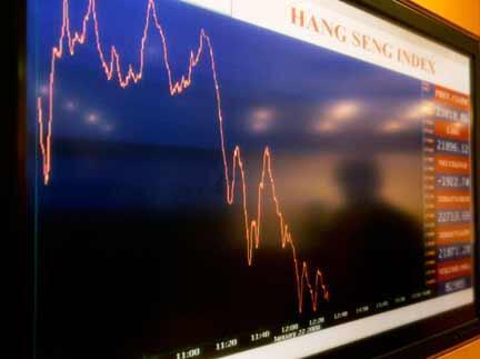 Nouvelle journée noire, ce 22 janvier, à la bourse de Hong Kong en Chine, où l'on peut voir la courbe du Hang Seng qui a perdu 8,65 %.