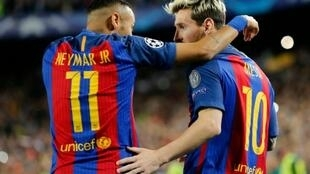Neymar et Lionel Messi, le 19 octobre 2016 lors du match Barcelone-Manchester City au Camp Nou