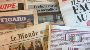 Primeiras páginas dos jornais franceses de 23 de Março